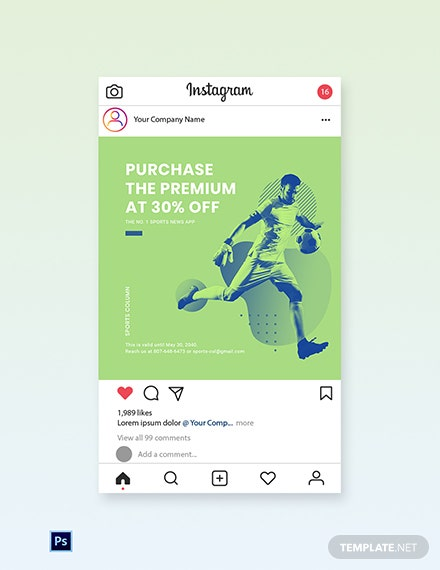 Free Sports App Promotion Instagram Post Template