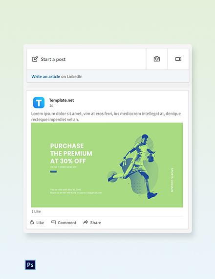 Free Sports App Promotion Linkedin Post Template