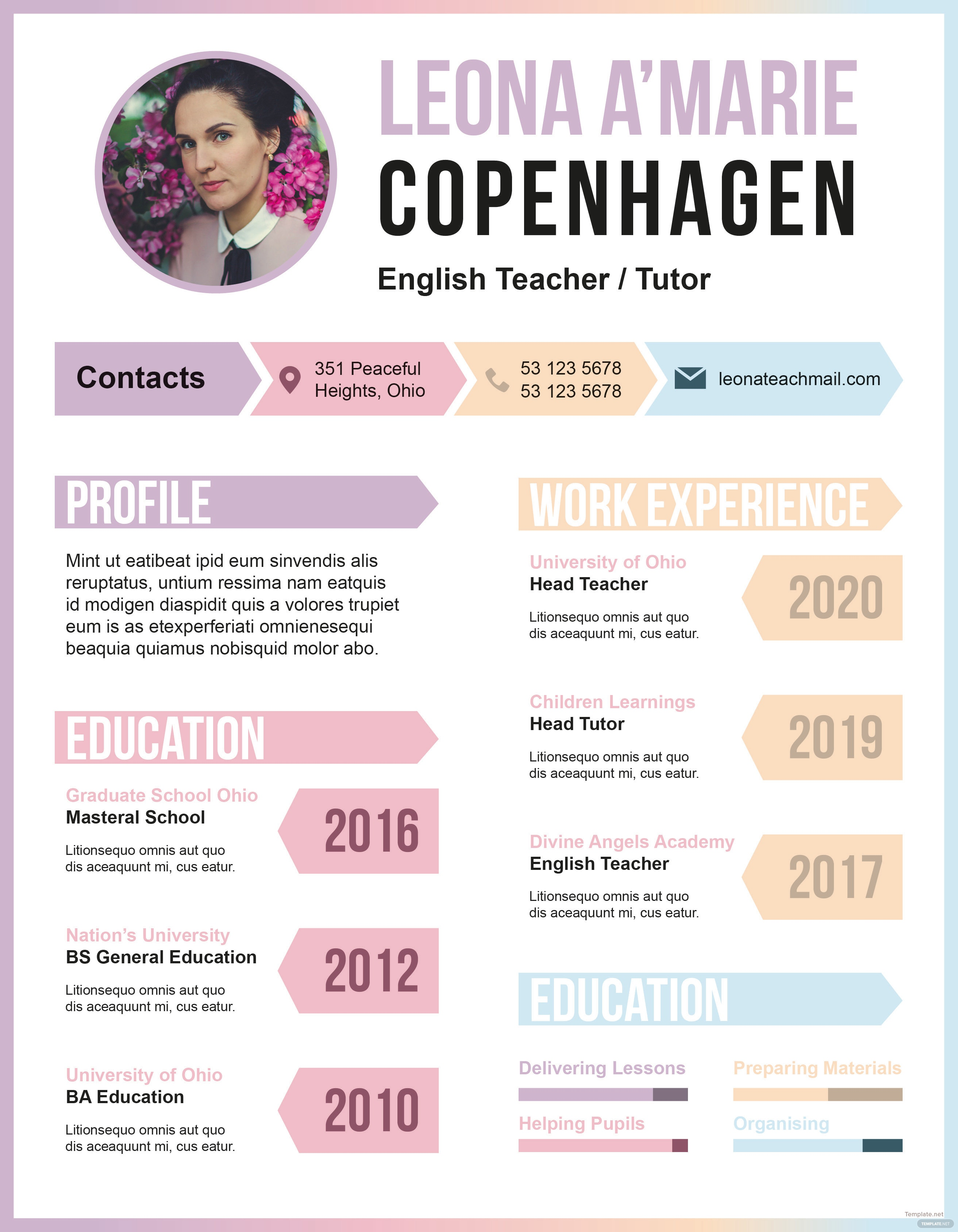 free english teacher cv template in adobe indesign