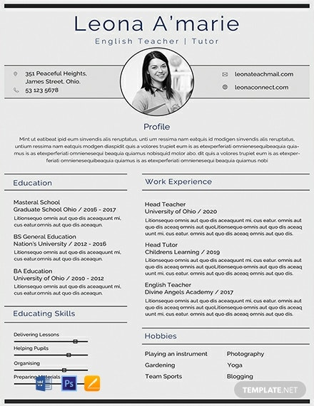 free english teacher cv template  download 2198  resume