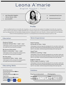 Free English Teacher CV Template