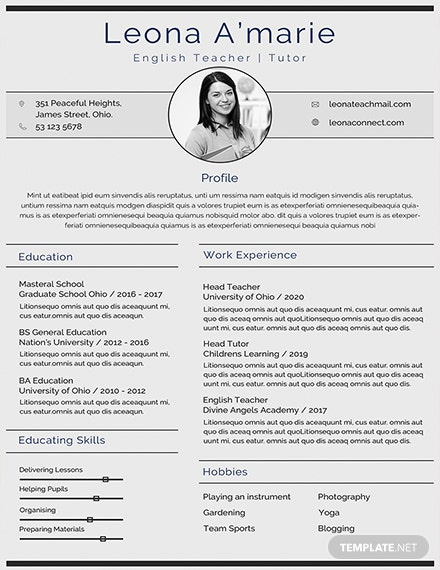 free english teacher cv template download 160 resumes in psd word