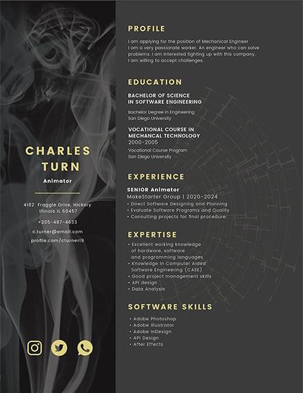 Free Animator CV Template