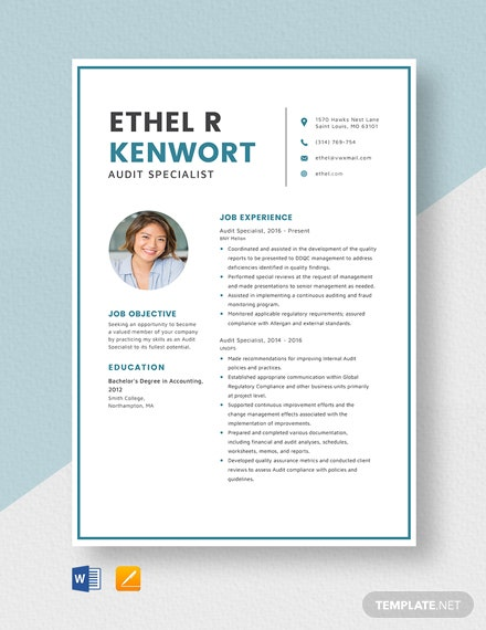 Audit Specialist Resume Template