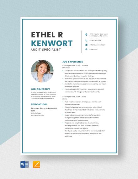 Audit Specialist Resume Template