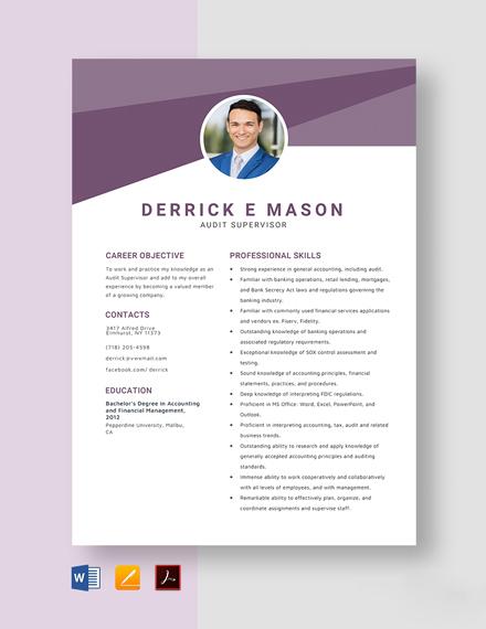 Audit Supervisor Resume Template