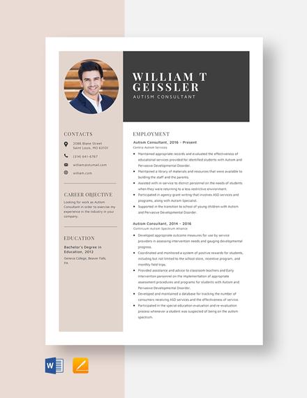 Autism Consultant Resume Template