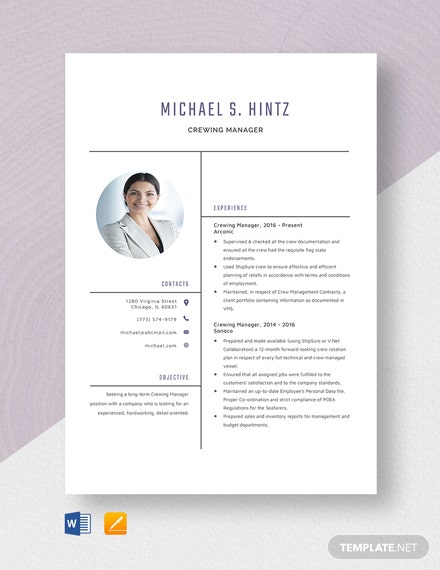 Crewing Manager Resume Template