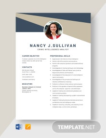 Crime Intelligence Analyst Resume Template
