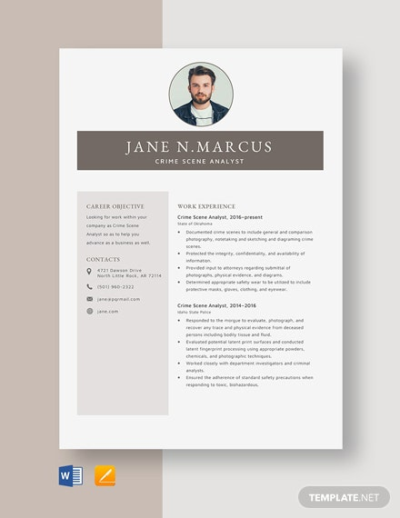 Crime Scene Analyst Resume Template