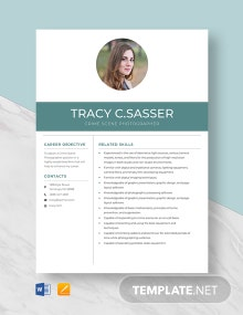 Crime Scene Photographer Resume Template