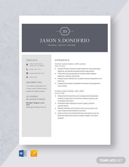 Criminal Justice Teacher Resume Template