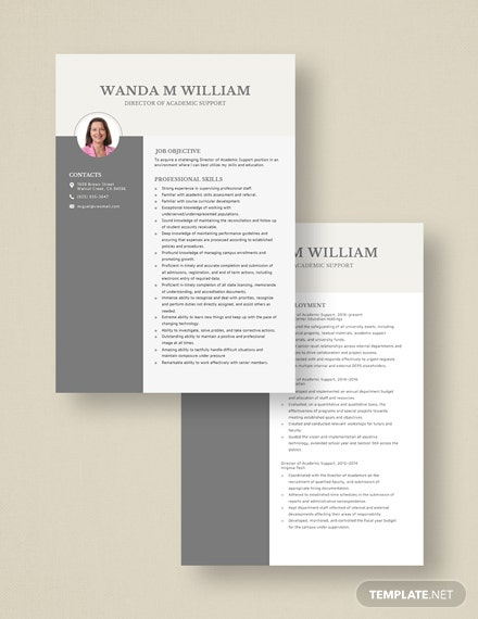 Director of Academic Support Resume Download