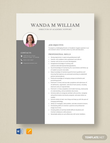 Director of Academic Support Resume