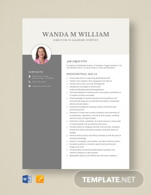 Director of Academic Support Resume Template