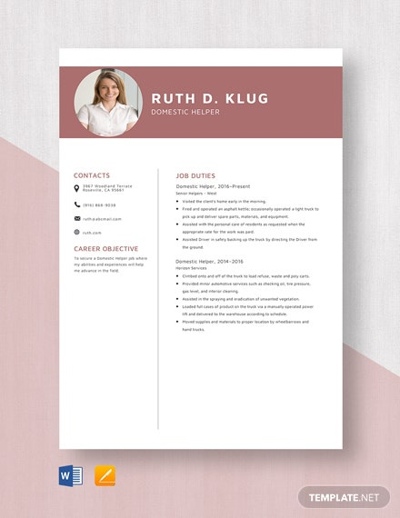 Domestic Helper Resume Template Word Doc Apple Mac Pages
