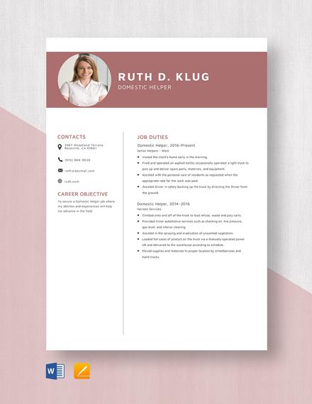 Domestic Helper Resume Template