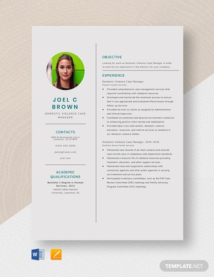 Domestic Violence Case Manager Resume Template