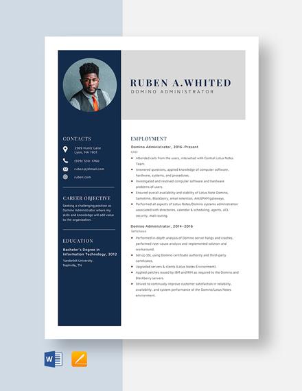 Domino Administrator Resume Template