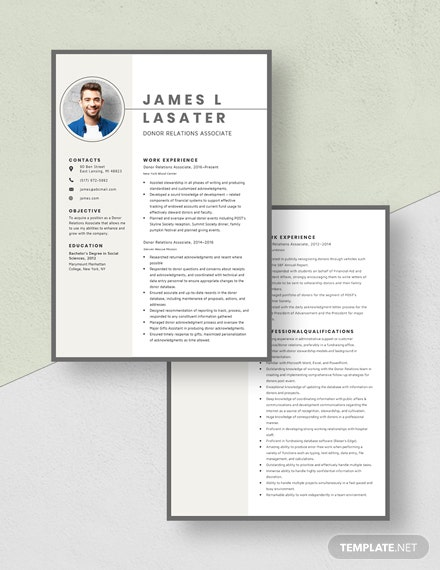 Donor Relations Associate Resume Download