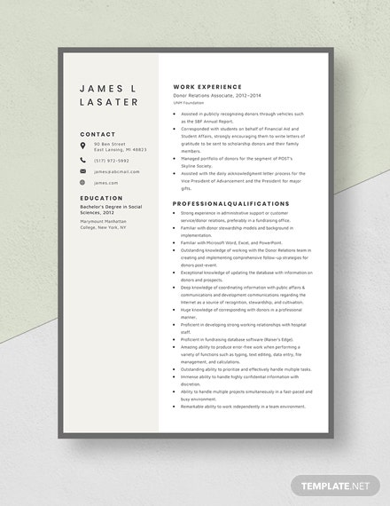 Donor Relations Associate Resume Template