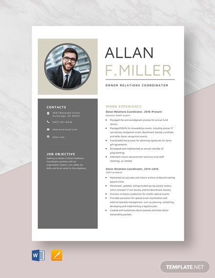 Donor Relations Coordinator Resume Template