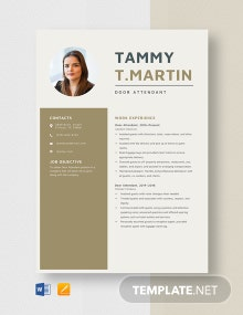 Door Attendant Resume Template