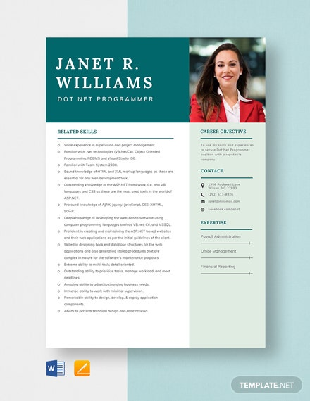 Dot Net Programmer Resume Template