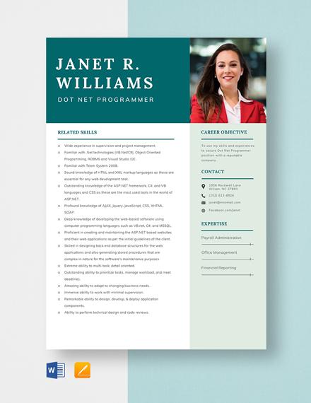 Dot Net Programmer Resume Template