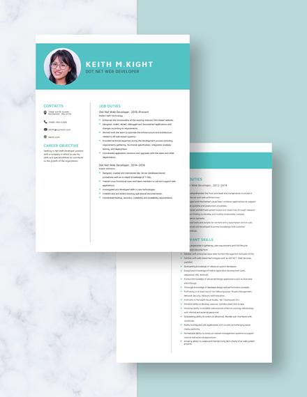 Dot Net Web Developer Resume Download