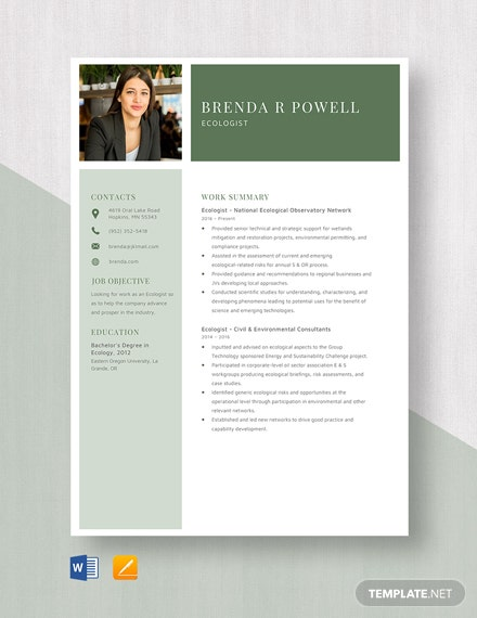 Ecologist Resume Template