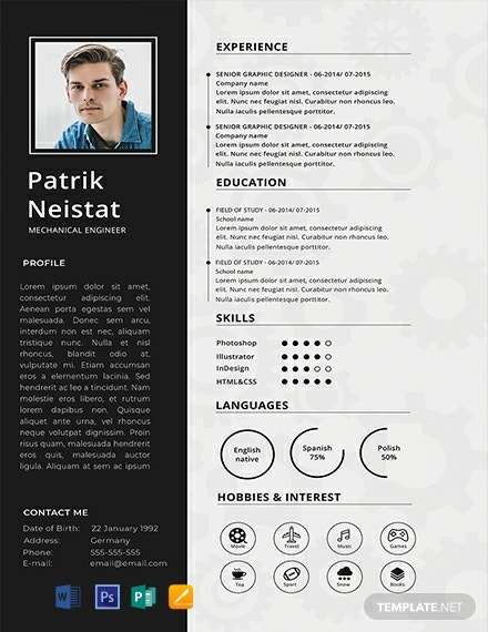free mechanical engineer resume template  download 2059  resume templates in psd  word