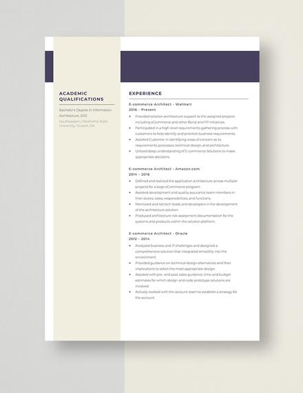 ECommerce Architect Resume Template