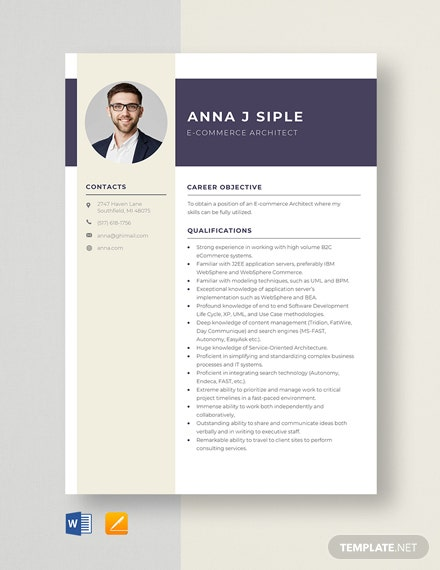 E-Commerce Architect Resume Template