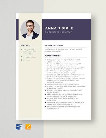 E-Commerce Architect Resume Template