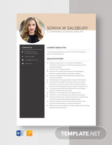 E-Commerce Business Analyst Resume Template