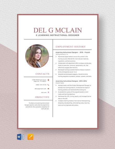E-Learning Instructional Designer Resume Template