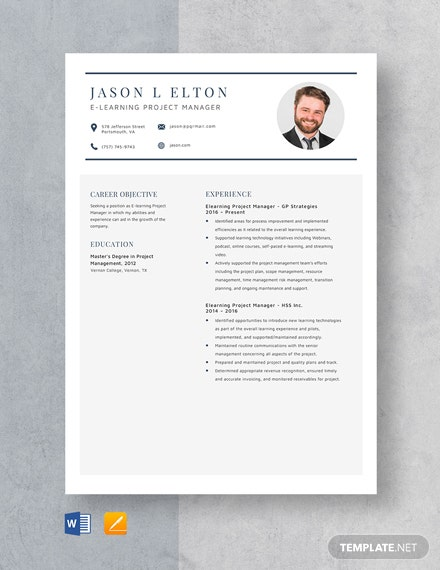 E-Learning Project Manager Resume Template