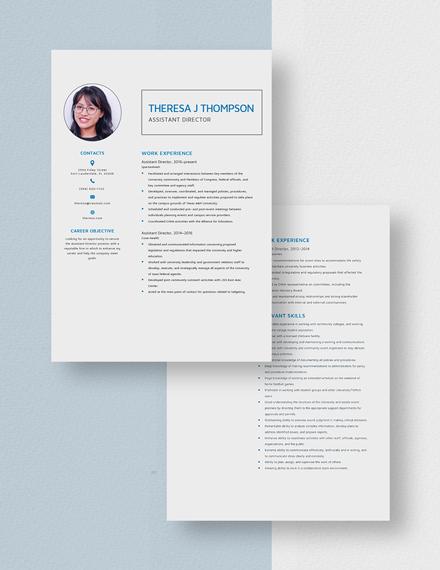 Sample Assistant Director Resume Download