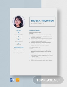 Sample Assistant Director Resume Template