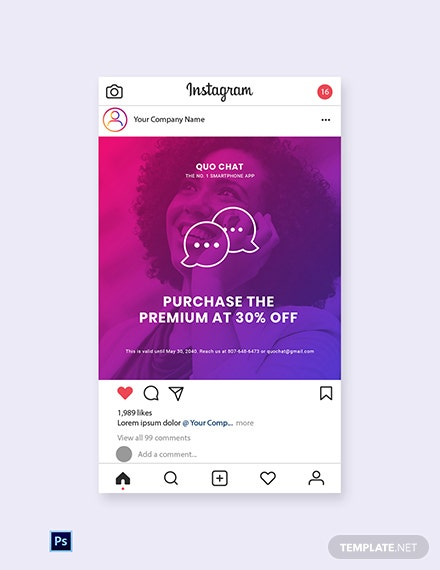 Free Chat App Promotion Instagram Post Template