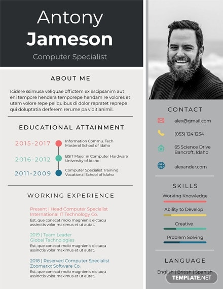 Free Computer Specialist Resume Template