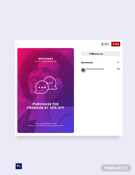 Free Chat App Promotion Pinterest Pin Template