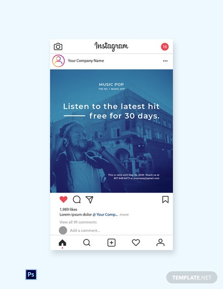 Free Music App Promotion Instagram Post Template: Download 1025+