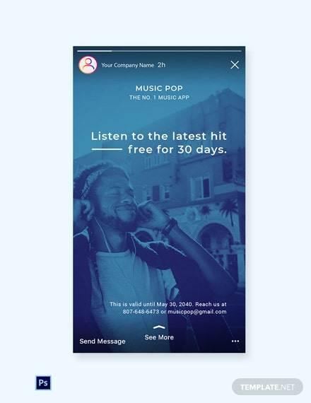 Free Music App Promotion Instagram Story Template: Download