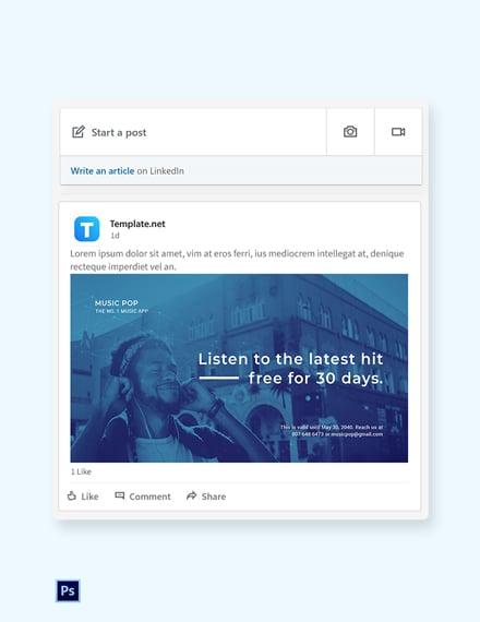 Music App Promotion LinkedIn Blog Post Template [Free PSD]