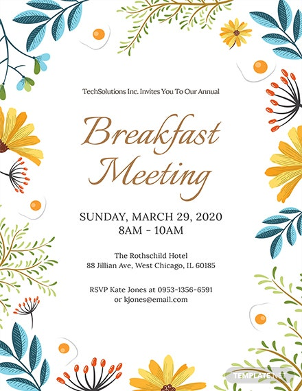 Free Corporate Breakfast Invitation Template Download 653