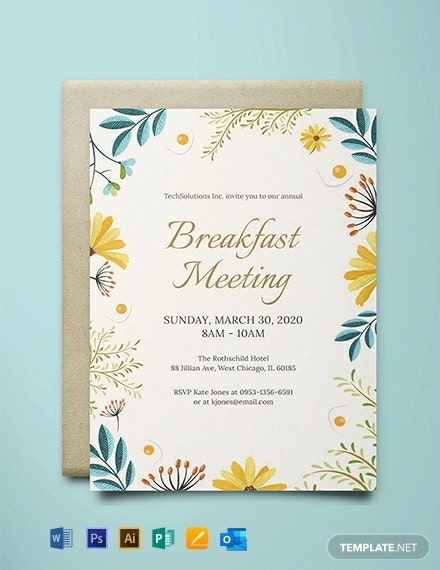 Free Corporate Breakfast Invitation Template Word Psd