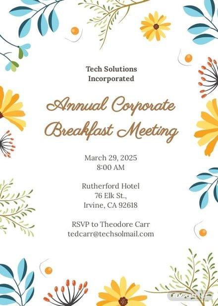 Free Corporate Breakfast Invitation Template.jpe