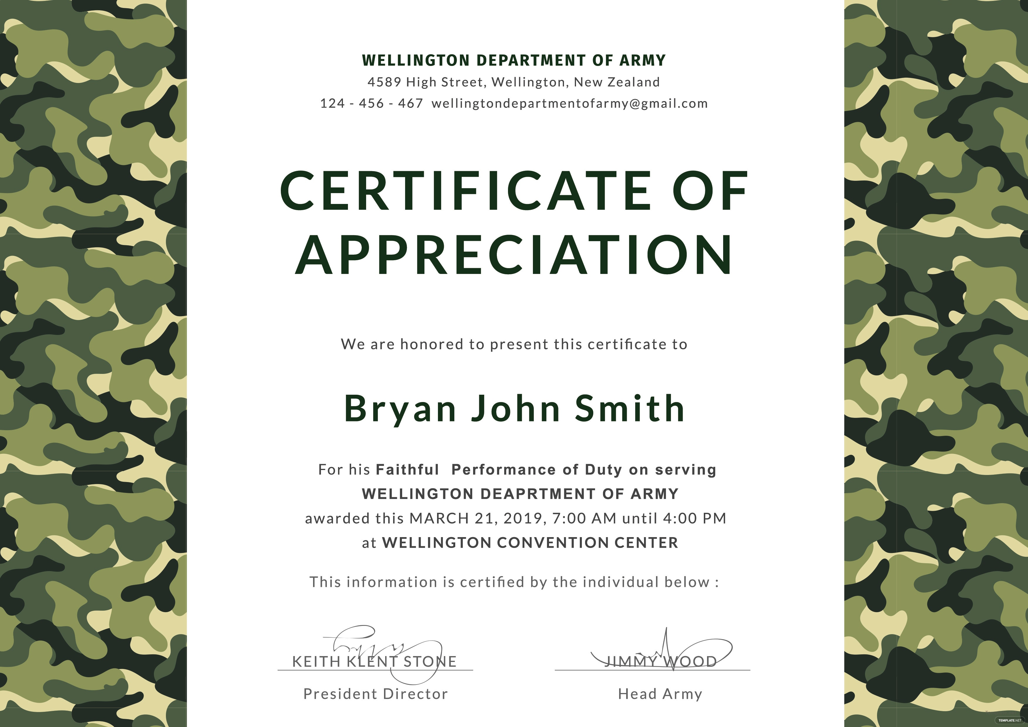 Lovely Army Certificate Of Appreciation